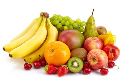 Composition of various exotic fruits isolated on white background
